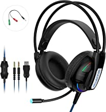 ISELECTOR Gaming Headset Headphones with Surround Sound - for PS4, PC, Xbox One, Noise Cancelling Over Ear Gaming Headset with Mic, Cool Lights, Comfortable Earmuffs for Laptops Mac Nintendo Switch