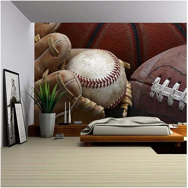 Wall26 Close Up Shot Of Well Worn Baseball In Baseball Glove Football And Basketball Removable Wall Mural Self Adhesive Large Wallpaper 100x144 Inches