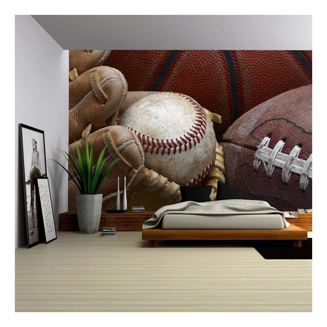 large sports murals amazon comwall26 close up shot of well worn baseball in baseball glove, football and basketball