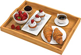 Pipishell Bamboo Serving Tray with Handles Rectangular Wooden Breakfast Tray Works for Eating, Working, Storing, Used in B...
