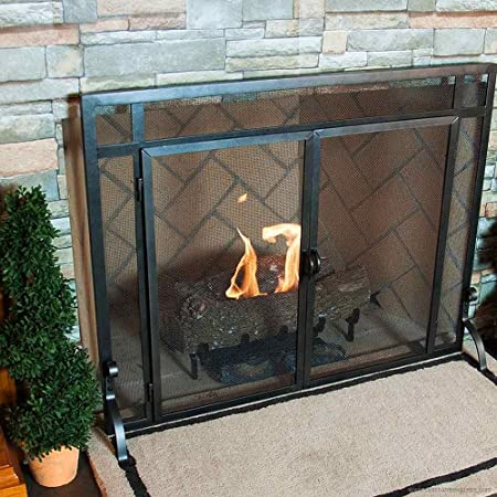 Black Freestanding Fireplace Screen W Doors 39 In Width Home Kitchen