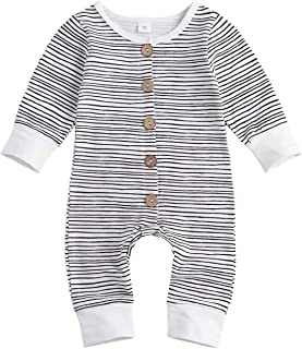 Sponsored Ad - KnniMorning TEES Newborn Unisex Baby Girls Boys Strip Romper Button Closure Jumpsuits Infant Playwear Sunsuit