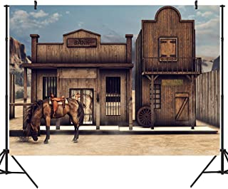 DULUDA 7X5FT Vintage Western Bank Backdrop Retro Wooden Horse Barn Cabin West Cowboy Photography Background Picture Boy Man Portraits Photo Booth Shooting Vinyl Wallpaper Studio Props FS32A