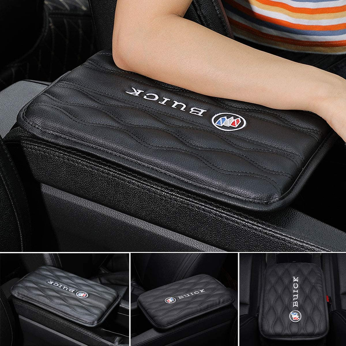 Waterproof Car Armrest Seat Box Cover for Cadillac Leather Auto Armrest Cover for Cadillac MONCAR Center Console Cover Pad for Cadillac