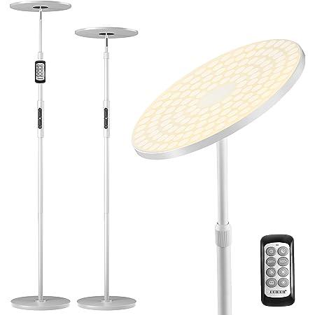 Lampadaire sur Pied LED, EEIEER Lampe sur Pied Moderne à LED Salon Chambre Lampadaire LED avec Bouton et Télécommande, 30W 154 LEDs Hauteur Réglables Gradation en Continu 3000K-6000K