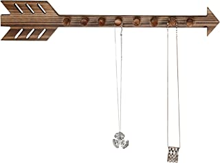 MyGift 8-Hook Rustic Wall-Mounted Wood Arrow Necklace Holder