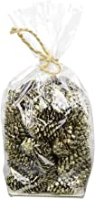 Decorative Gold & Champagne Glittered Round Christmas Pine Cones - 100g