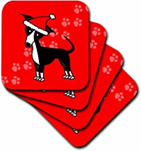 3dRose CST_25375_2 Cute Black Italian Greyhound Red with Santa Hat-Soft Coasters, Set of 8