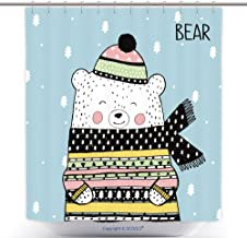 vanfan-Cool Shower Curtains Vector Sketch Original Illustration Cute Winter White Bear in A Knitted Cap Sweater Lovely Polyester Bathroom Shower Curtain Set Hooks(72 x 72 inches)