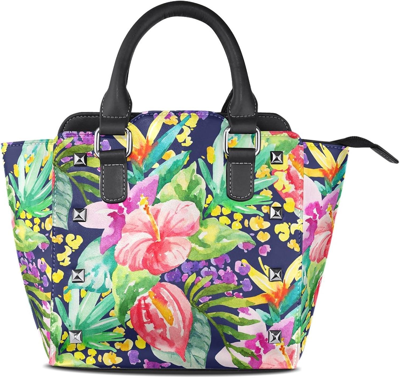 My Little Nest Women's Top Handle Satchel Handbag Watercolor Floral Botanical Ladies PU Leather Shoulder Bag Crossbody Bag