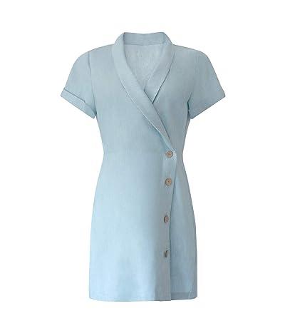 BCBGeneration Faux Wrap Button Side Dress TSY6294560 (Blue Mist) Women