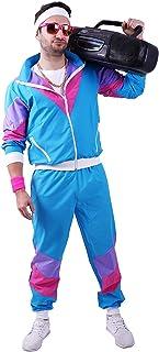 FetteParty1A - 80-er 90-er Jahre Erwachsenenkostüm, Deluxe Trainingsanzug - Jogginganzug, Jacke und Hose, Mehrfarbig Blau/Lila Mottoparty Karneval JGA (XXL)