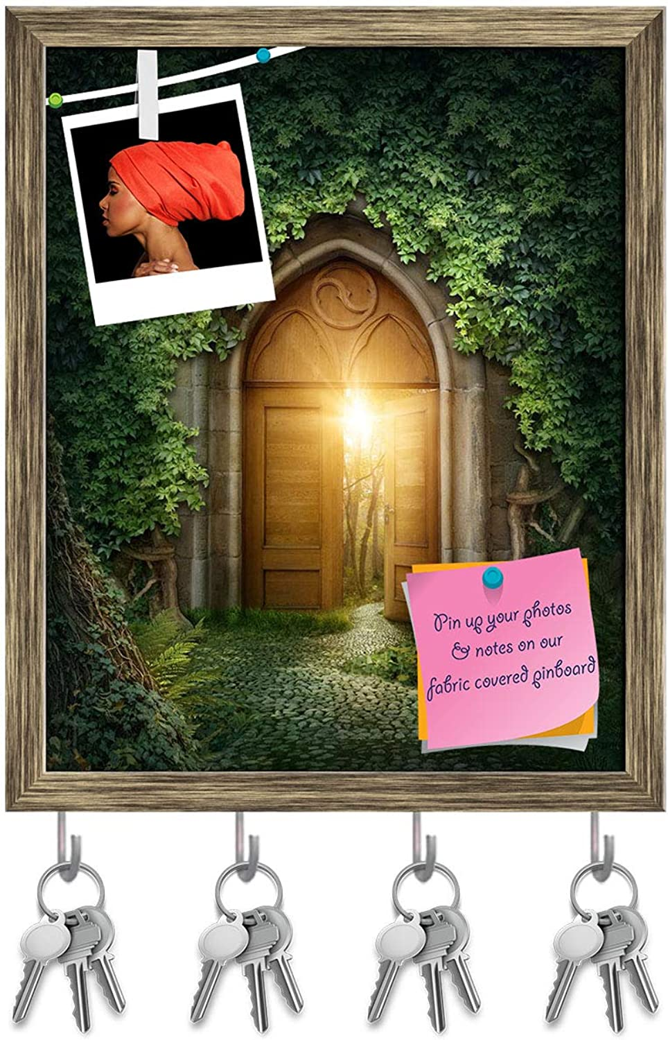 Artzfolio Mysterious Entrance to New Life D2 Key Holder Hooks   Notice Pin Board   Antique golden Frame 16 X 19.7Inch
