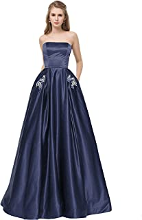 Libaosha Satin Strapless Formal Gowns with Beaded Pockets Lace Up Back Prom Dresses Long
