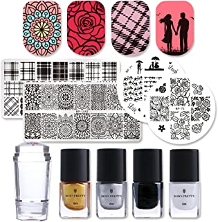 Born Pretty Nail Art Stamping Juego 4PCS Nail esmaltes Plates 1pc Jelly Silicone Stamper with 4 Bottles esmaltes Polish