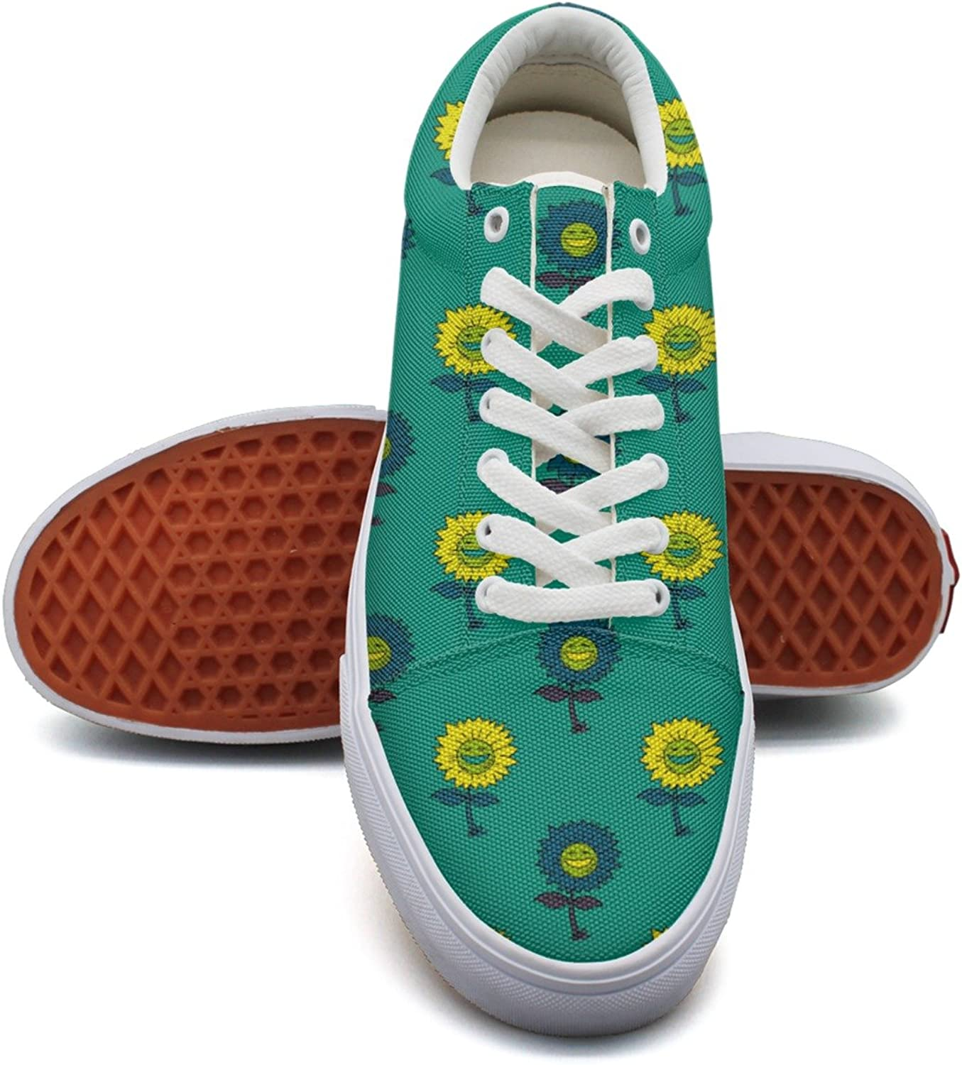 Feenfling Smile Sunflower Leaves Womens Plain Canvas Deck shoes Low Top Classic Sneakers for Woman