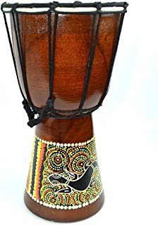 DJEMBE DRUM BONGO HAND CARVED AFRICAN ABORIGINAL DOT ART DESIGN by Bethlehem Gifts TM (12 inches)