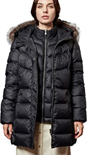 Women's Down Jacket with Real Fur Hooded Winter Parka Coat