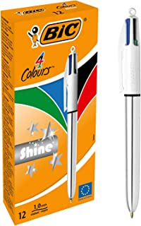 BIC 4 Colours Shine Retractable Ball Pen Medium Point (1.0 mm) - Silver Body, Box of 12 Pens, Pack of 12, Assorted