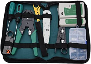 Tangxi Kit de Mantenimiento de Red 11 Tipos Kit de Herramientas de Mantenimiento de reparación de Cables de Red Probador de Cables para alicates de Disparo RJ11, RJ45 Juego de Herramientas