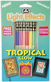 DMC 317WPK6 Light Effects Polyester Embroidery Floss, 8.7-Yard, Tropical Glow