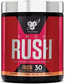 BSN Endorush Pre Workout Powder, Energy Supplement for Men and Women, 300mg of Caffeine, with Beta-Alanine and Creatine, Island Cooler, 30 Servings