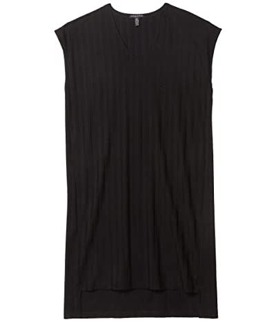 Eileen Fisher Petite V-Neck High-Low Dress (Black) Women