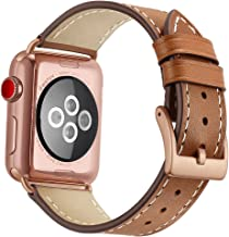 OXWALLEN Compatible with Apple Watch Band 38mm 40mm, Genuine Leather Replacement Band Compatible with iWatch Series 4/5 (40mm) Series 3/2/1 (38mm) Sport and Edition, Rose Gold Buckle