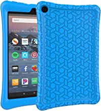 AVAWO Silicone Case for Amazon Fire HD 8 Tablet with Alexa (7th/8th Generation, 2017/2018 Release) - Anti Slip Shockproof Light Weight Protective Cover [Kids Friendly], Blue