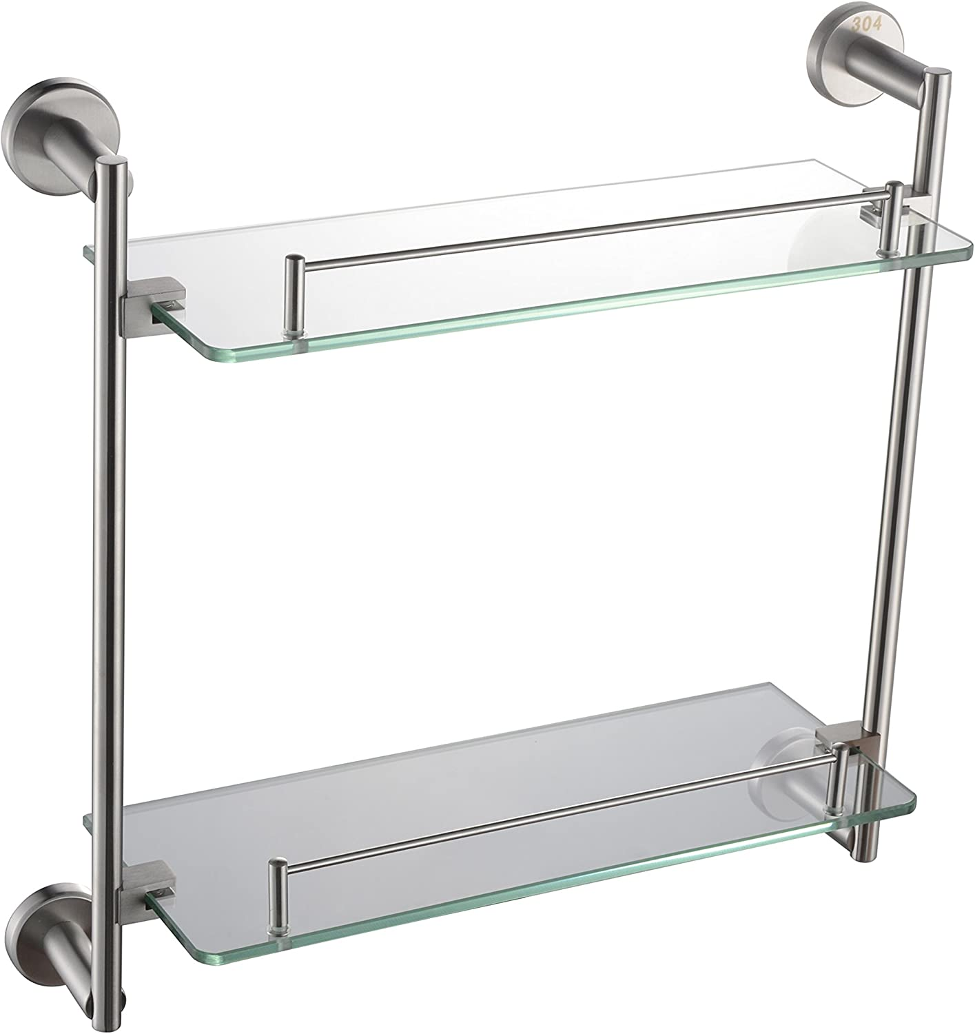 NEWBIAO Wall Mounted Glass Double Shelf,Bathroom SUS304 Stainless Steel,Nickel