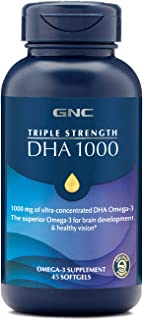 GNC Triple Strength DHA 1000, 45 Softgels, for Join, Skin, Eye, and Heart Health