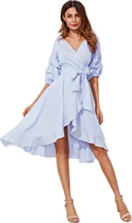 Milumia Women's V-Neck Striped Pinstripe Flounce Dip High Low Hem Split Wrap Dress