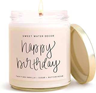 Sweet Water Decor, Happy Birthday, Vanilla, Sugar, and Buttercream Sweet Scented Soy Wax Candle for Home   9oz Clear Glass Jar, 40 Hour Burn Time, Made in the USA