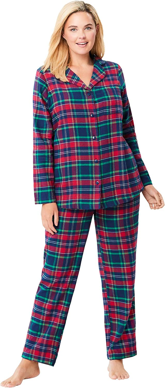 Dreams & Co. Women's Plus Size Petite Classic Flannel Pajama Set Pajamas