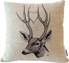 Decorbox Cotton Linen Square Throw Pillow Case Decorative Cushion Cover Pillowcase for Sofa Deer 18 X18