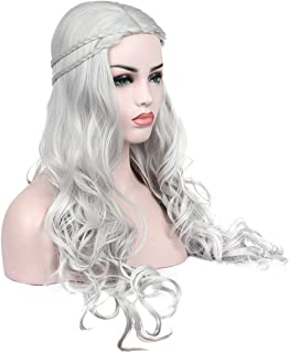 Kalyss Heat Resistant Synthetic Hair Wig Long Wavy Curly Sliver Grey Cosplay Costume Wigs for Game of Thrones Daenerys Targaryen khalees Halloween Hair wig 24 inches (Sliver Grey)