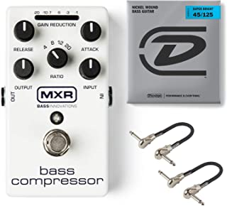 MXR M87 Bass Compressor Effects Pedal Bundle with 2 MXR Patch Cables and Dunlop Super Bright Bass Strings, Nickel Wound (Medium .045–.125, 5 Strings/Set)