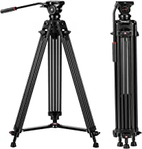 Tripod, COMAN KX3636 74 inch Video Tripod System- Professional Heavy Duty Aluminum Twin Tube Camera Tripod, Q5 Fluid Head, Mid-Level Spreader, Max Loading 13.2 LB, DSLR Camcorder