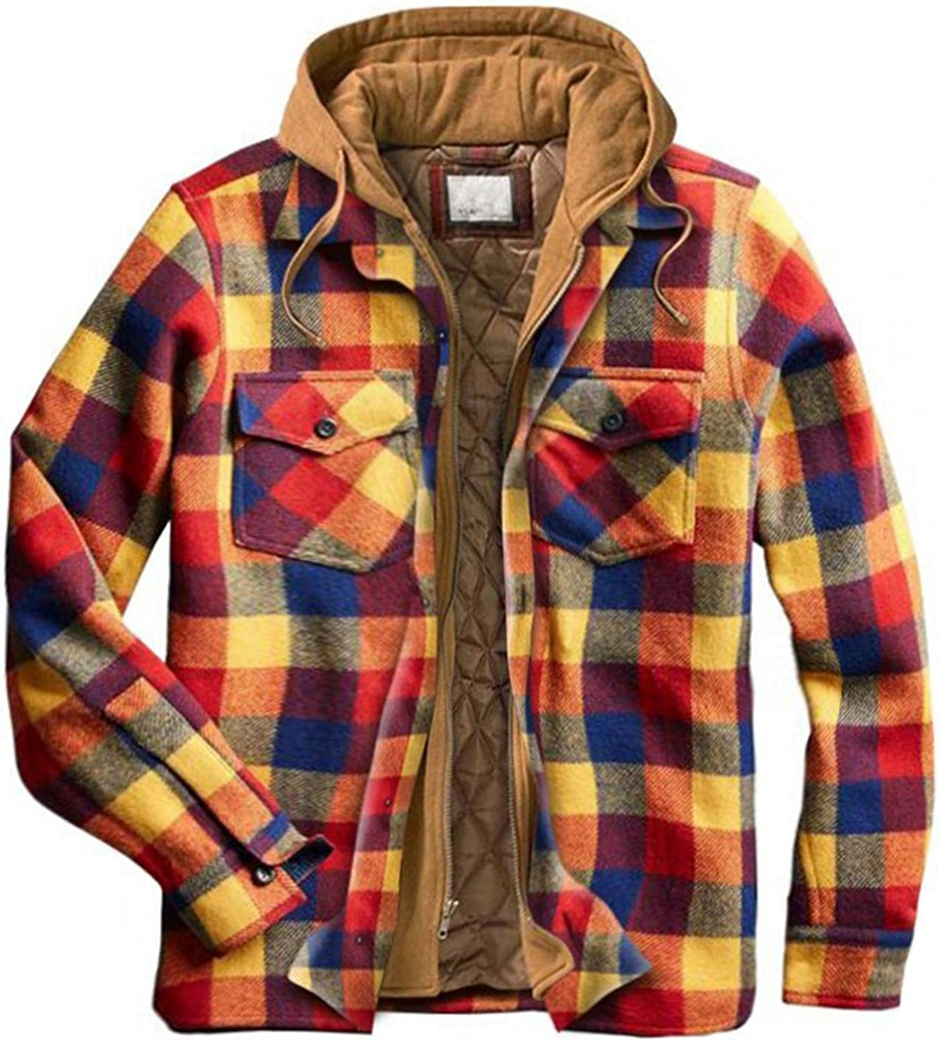 VEKDONE Men's Flannel Plaid Shirt Jacket with Hood Fashion Casual Lightweight Long Sleeve Quilted Lined Hoodie Jackets