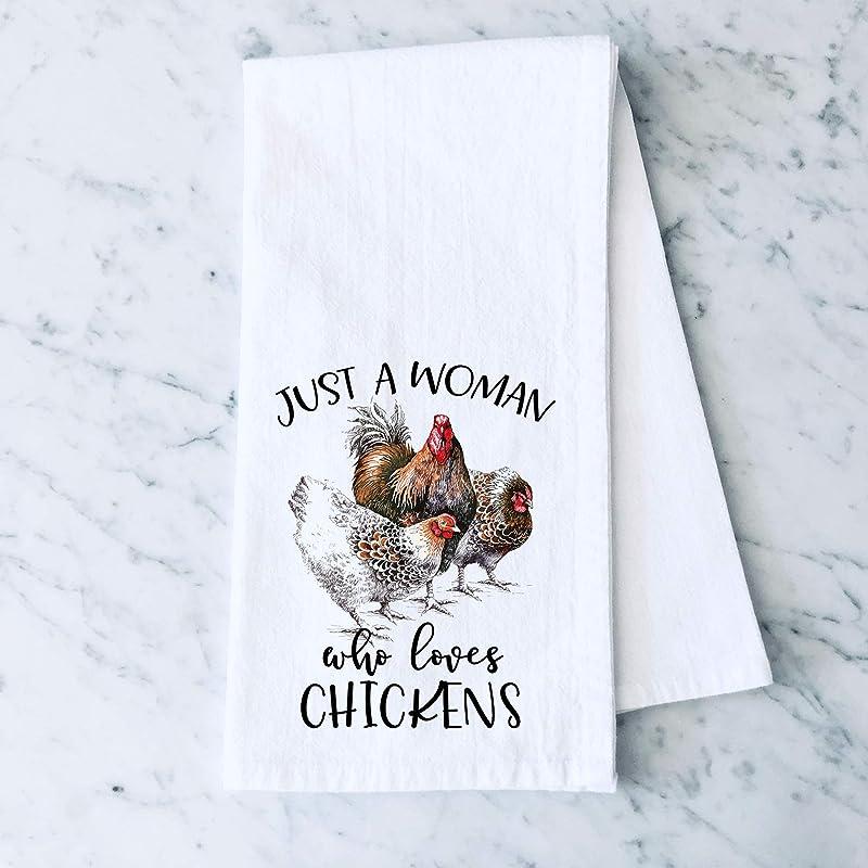 Just A Woman Who Loves Chickens Farm Flour Sack Cotton Tea Towel Kitchen Linen