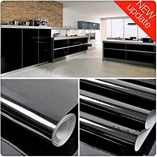 Shiny Black Contact Paper Vinyl Self Adhesive Film Decorative Shelf Liner Stick and Peel Wallpaper For Kitchen Countertops Cabinets Furniture (15.8