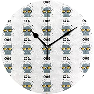 KamBins Silent Non Ticking Wall Clock Gray Cat Wearing Glasses 10 Inch Round Decorative Clock Excellent Accurate Sweep Easy to Read Home Office School Clock