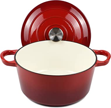 """Dutch Oven Enameled Cast Iron Pot with Dual Handle and Cover Casserole Dish - Round Red 10.23"""" (26 cm)"""