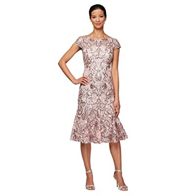 Alex Evenings Midi Embroidered Fit-and-Flare Dress (Blossom) Women