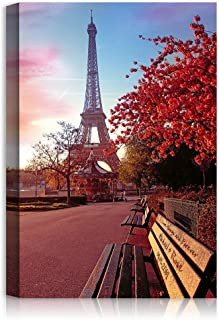 Romantic Bench Under Eiffel Tower in Paris France - Personalized Framed Art Canvas or Photo Prints Artwork with Couple's Names Date and Owm Message on, Perfect Love Gift for Anniversary,Wedding.