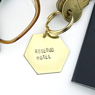 Rosebud Motel Brass and Gold Handcrafted Keychain