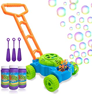 Lydaz Bubble Mower for Toddlers, Kids Bubble Blower Machine Lawn Games, Summer Outdoor Push Toys, Birthday Toy Gifts for Preschool Baby Boys Girls
