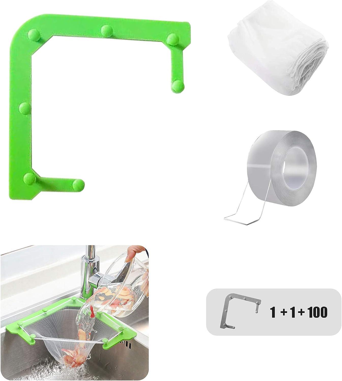 Triangle Sink Strainer Holder,Kitchen Filter Basket,Multifunctional Food Residue Drain Pouch,Leftover Soup Garbage Hanging Net,Vegetable Fruit Clean Storage Rack(100pcs Large Size Mesh Bag+ Nano Tape)