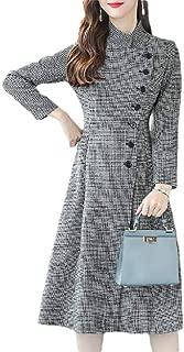 Macondoo Women Fall Winter Single Breasted Houndstooth Outwear Pea Coats