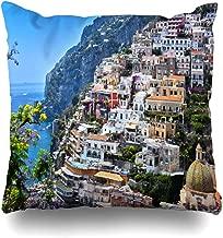Ahawoso Throw Pillow Cover Square 18x18 Coast City Positano On Amalfi Province Recreation Sports Attraction Beach Campania Europe Design Zippered Cushion Case Home Decor Pillowcase